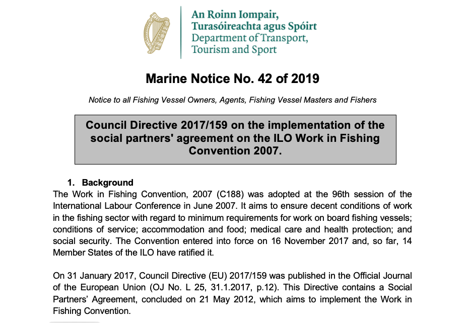 Marine Notice 42 of 2019: Implementation of ILO188