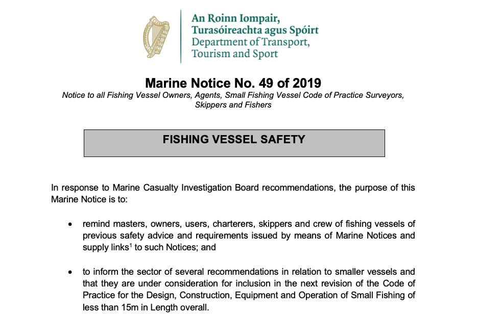 Marine Notice No. 49 of 2019: Fishing Vessel Safety