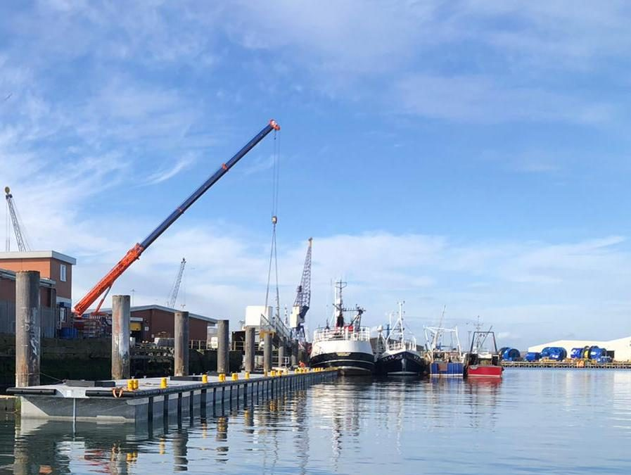 New commercial pontoon in Hartlepool Harbour from ICMS