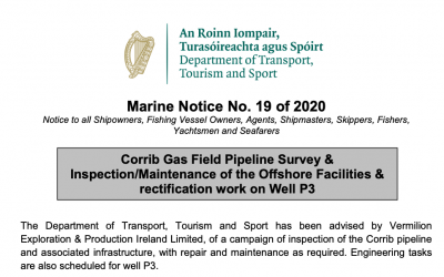 Marine Notice 19 of 2020: Corrib Gas Field Survey and Inspection