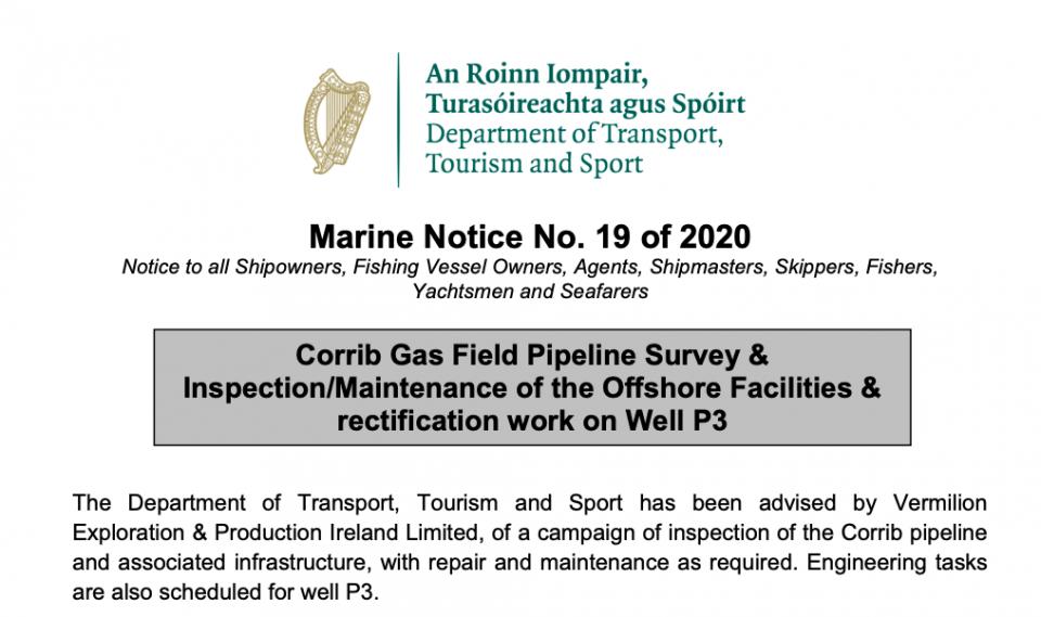 Marine Notice 19 of 2020: Corrib Gas Field Survey and Inspection