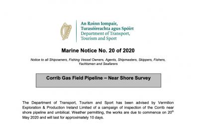 Marine Notice 20 of 2020: Corrib Gas Field Pipeline Survey