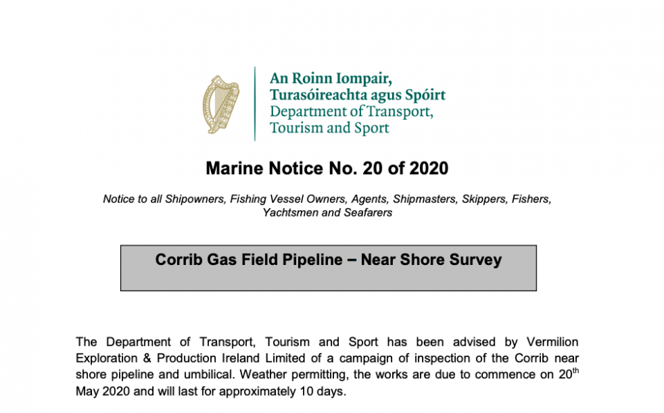 Marine Notice 20 of 2020: Corrib Gas Field Pipeline Survey