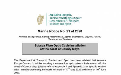 Marine Notice 21 of 2020: Cable Installation off Mayo coast