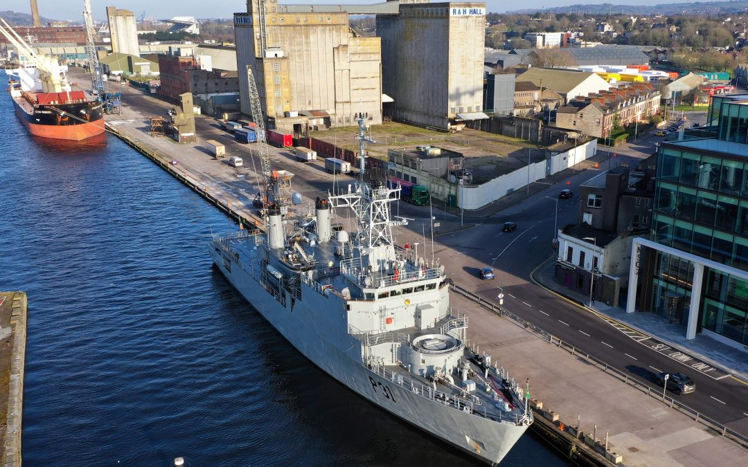 COVID-19: LÉ Eithne Departs Cork's Albert Quay