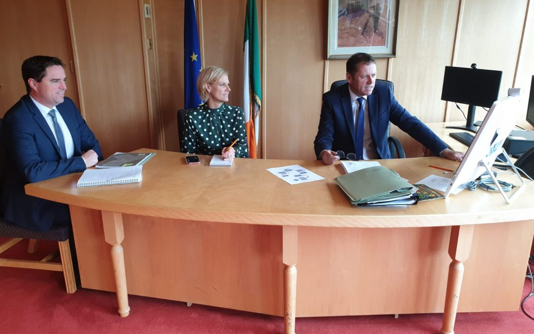 Cowen holds talks with Trade Commissioner and Northern Ireland's Poots