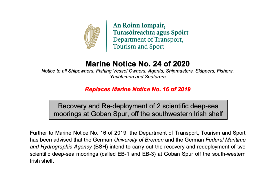 Recovery and Re-deployment of 2 scientific moorings at Goban Spur