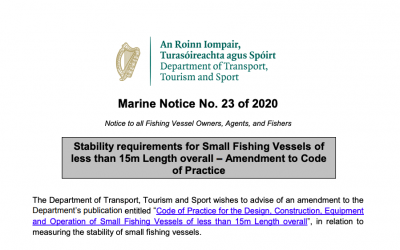 Marine Notice 23 of 2020: Stability requirements for Small Fishing Vessels
