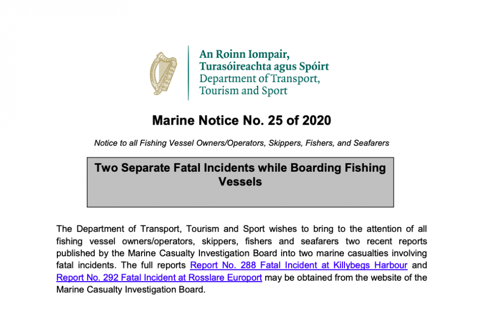 Marine Notice 25 of 2020: Two Separate Fatal Boarding Incidents
