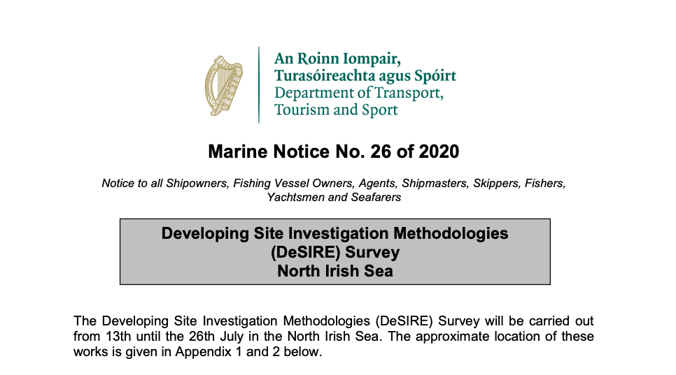 Marine Notice 26 of 2020: Survey North Irish Sea