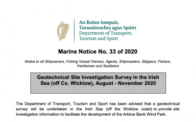 Marine Notice 33 of 2020: Geotechnical Site Survey in the Irish Sea