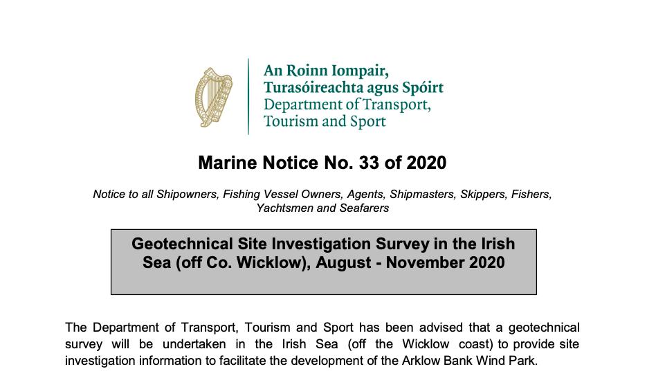 Marine Notice 33 of 2020: Geotechnical Site Survey in the Irish Sea