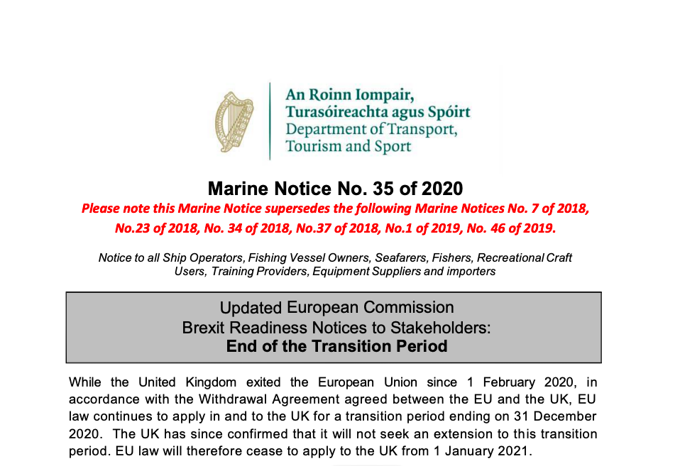 Marine Notice 35 of 2020: Updated Brexit Readiness Notices