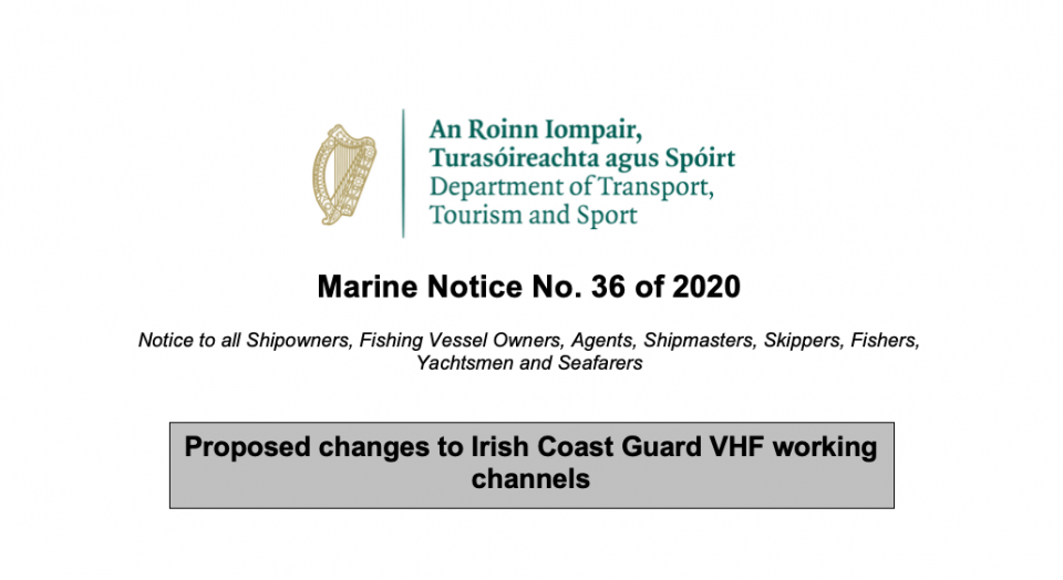 Proposed changes to Irish Coast Guard VHF working channels