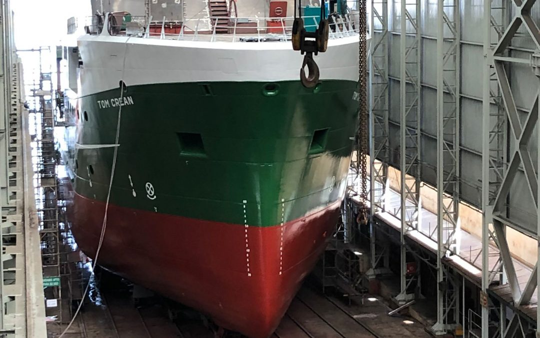 RV Tom Crean takes shape with hull of the vessel completed